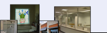 A few of our recent projects:  shower enclosure, stained glass, retail windows, and commercial safety glass
